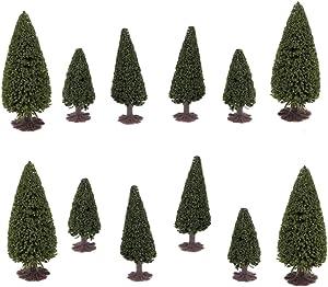 DOITOOL 15pcs Model Trees with Base Diorama Supplies Model Train Scenery Woodland Scenics Model Toy