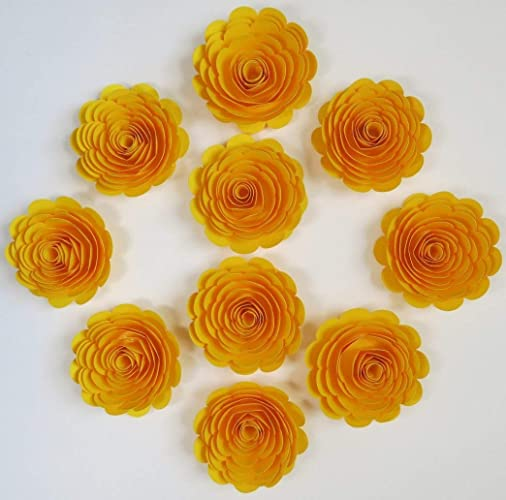 Amazon 10 Bright Yellow Paper Roses Large Loose 3 Flowers For