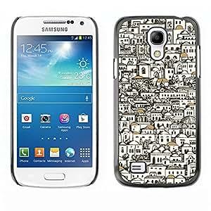 TopCaseStore / la caja del caucho duro de la cubierta de protección de la piel - Stylish Buildings Architect Pen Art - Samsung Galaxy S4 Mini i9190 MINI VERSION!