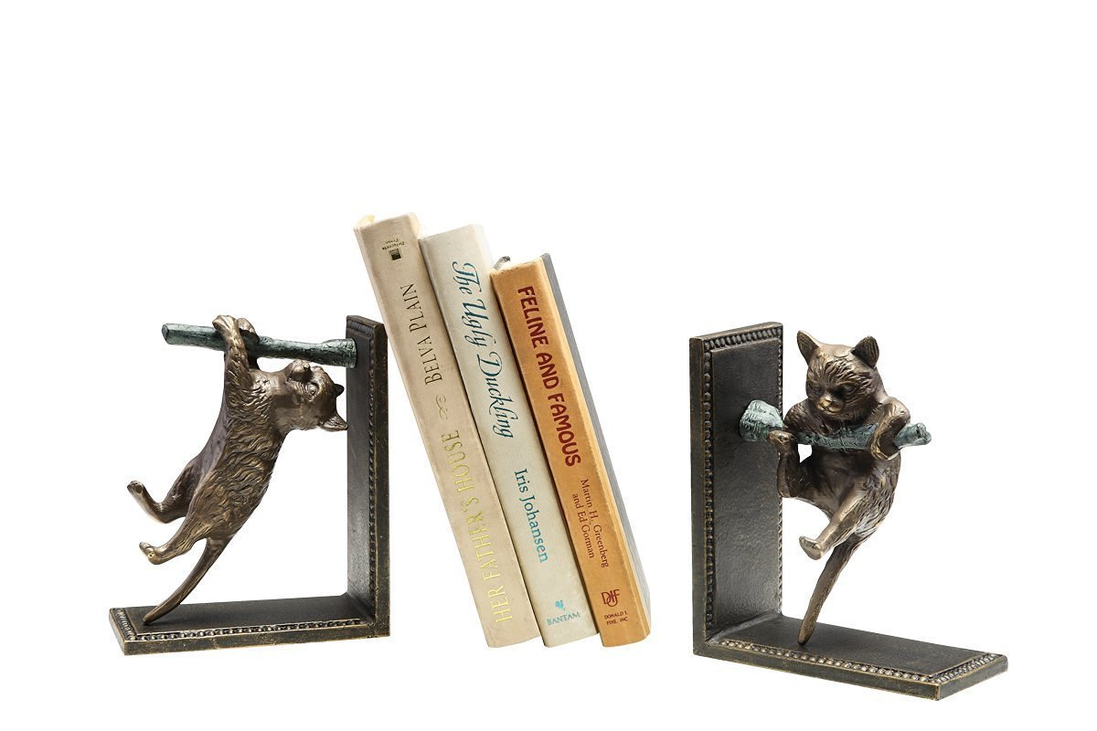 Climbing Cat and Branch Book Ends (Set of 2)