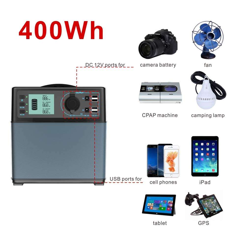 POWEROAK 400Wh Portable Power Solar Generator Lithium ion power supply for Emergency Camping backup power source with 300W DC//AC Power Inverter,12V Car DC//AC//USB Outputs Charged by Solar Panel//AC//Car