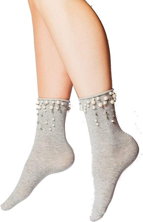 Calcetines tobilleros de algodón con perlas alrededor del tobillo para mujer Gris gris Talla única: Amazon.es: Ropa y accesorios
