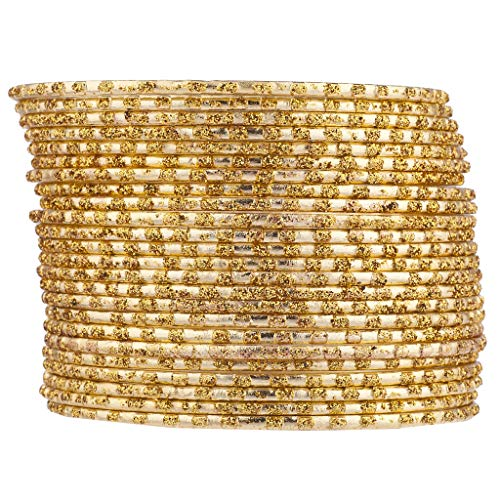 Lux Accessories Gold Tone Glitter Indian Wedding Multi Bangle Set 24 PC