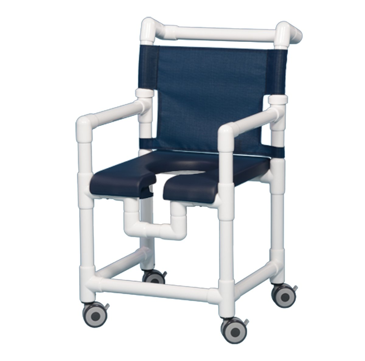 Amazon.com: Open Front Seat Deluxe PVC Rolling Shower Chair SC720 N ...