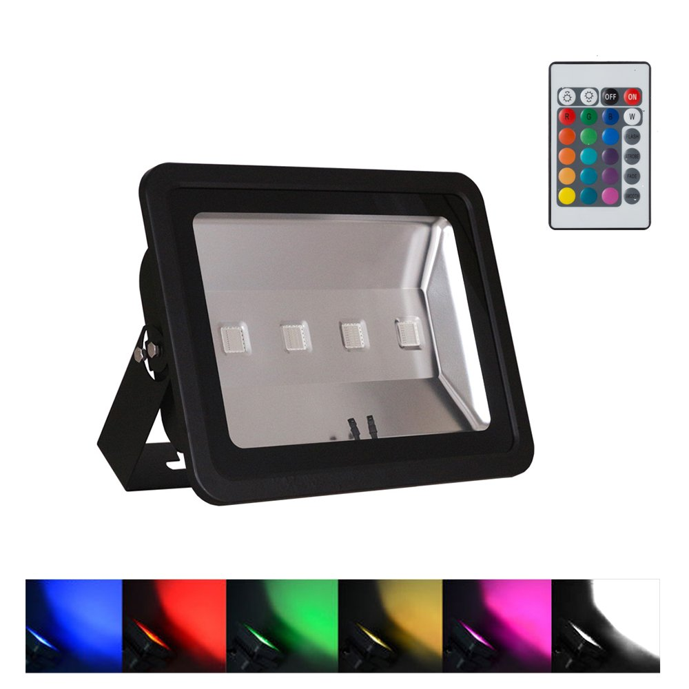 WEDO 200W RGB Led Flood Light IP66 Waterproof Black Shell 16 Colors Change 4 Modes with Remote Control Wall Wash Light Security Light for Outdoor Garden Landscape Yard Car Park(Plug is not included)
