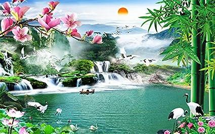 Lqwx Cinese Sfondo 3d Cascata Lo Sfondo Del Paesaggio Per Pareti