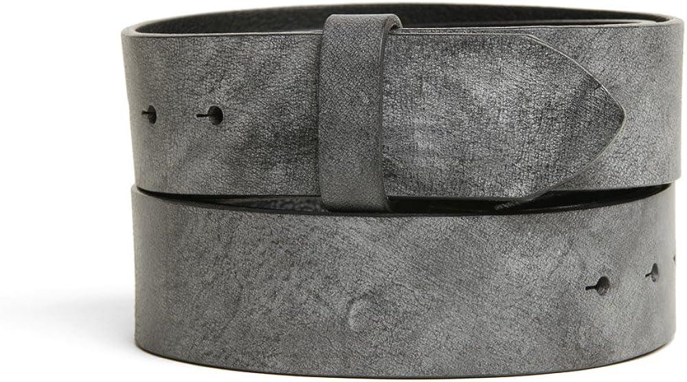 VaModa Belt, Cinturón en piel, modelo Gump, color gris, sin hebilla
