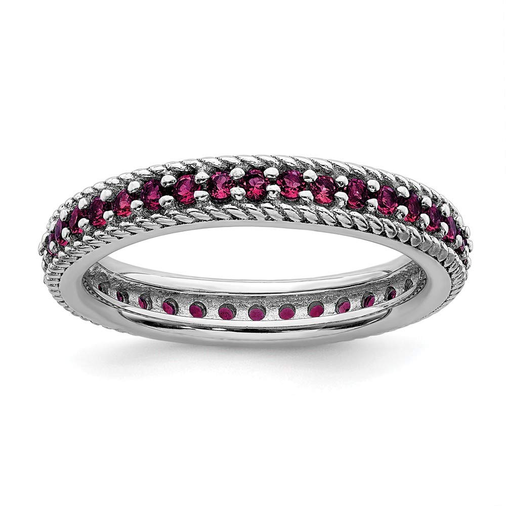 925 Sterling Silver Created Red Ruby Eternity Band Ring Size 9.00 Stackable Gemstone Birthstone July Fine Jewelry Gifts For Women For Her