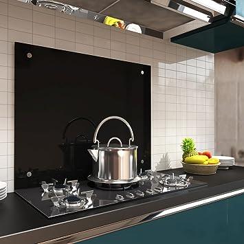 80x55cm glas küchenrückwand spritzschutz schwarz fliesenspiegel ...