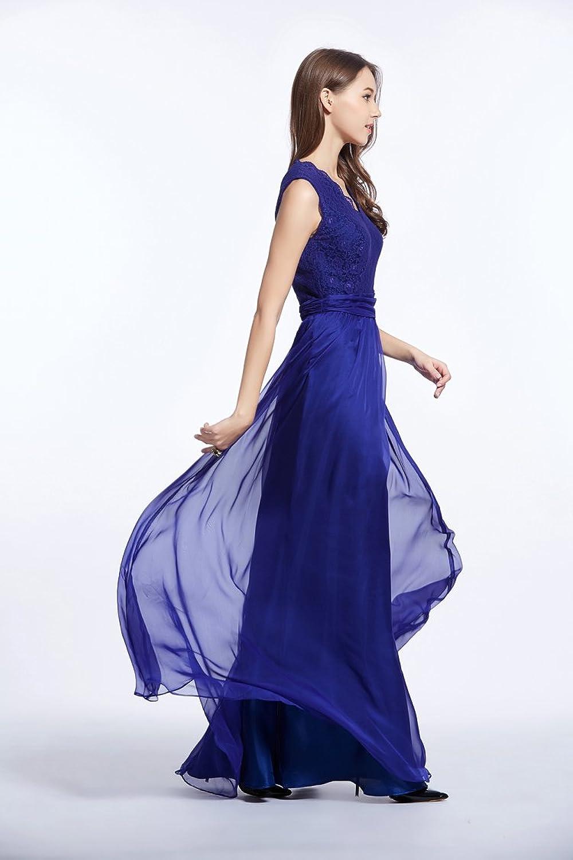 Trendence New Fashion Elegant V-neck Lace Stitching Chiffon Sleeveless Staggered Party Dress