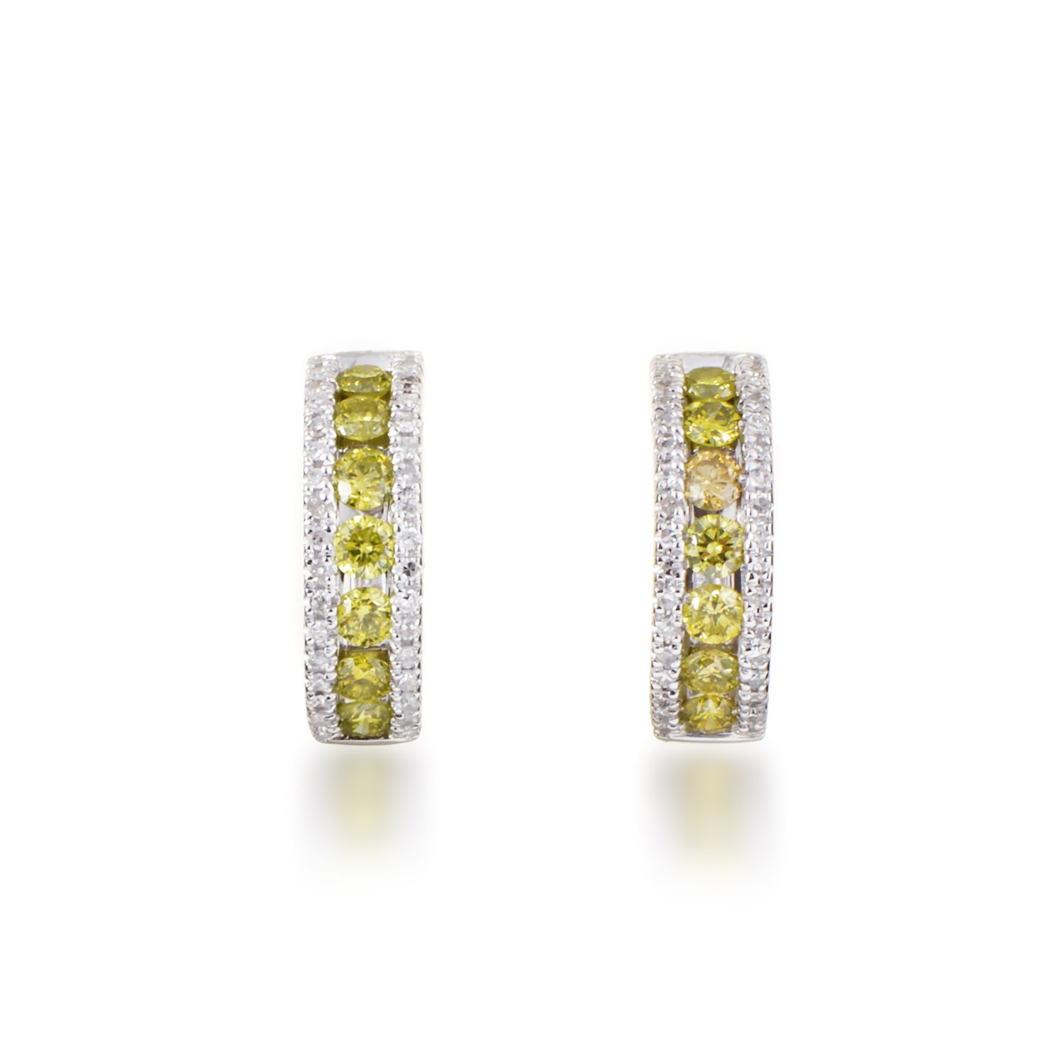 White and Yellow Diamond Hoop Earrings in 14K White Gold; 0.4 Carats of Dazzling Yellow and White Diamonds in 0.5'' Hoops