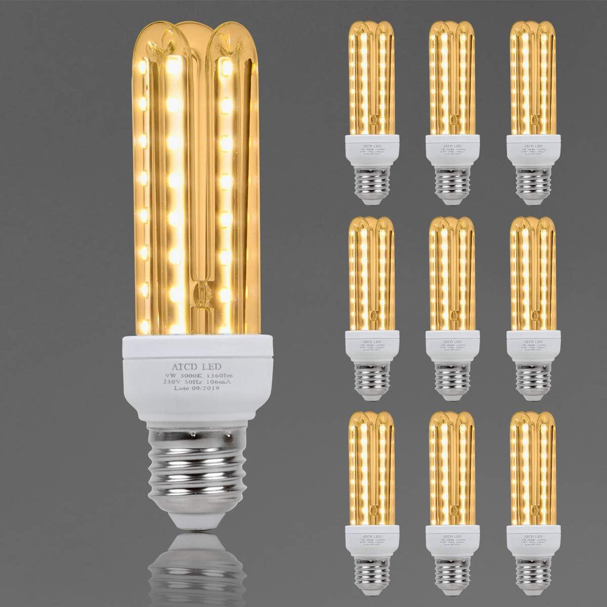Bombilla LED, ATCD Bombillas Led e27 Luz Calida, Bombilla Led Estándar e27 3U, 9 W Equivalente a 70 W, Luz Calida 3000K, 810 Lúmenes, No Regulable - Pack de 10 [Clase de Eficiencia Energética A]