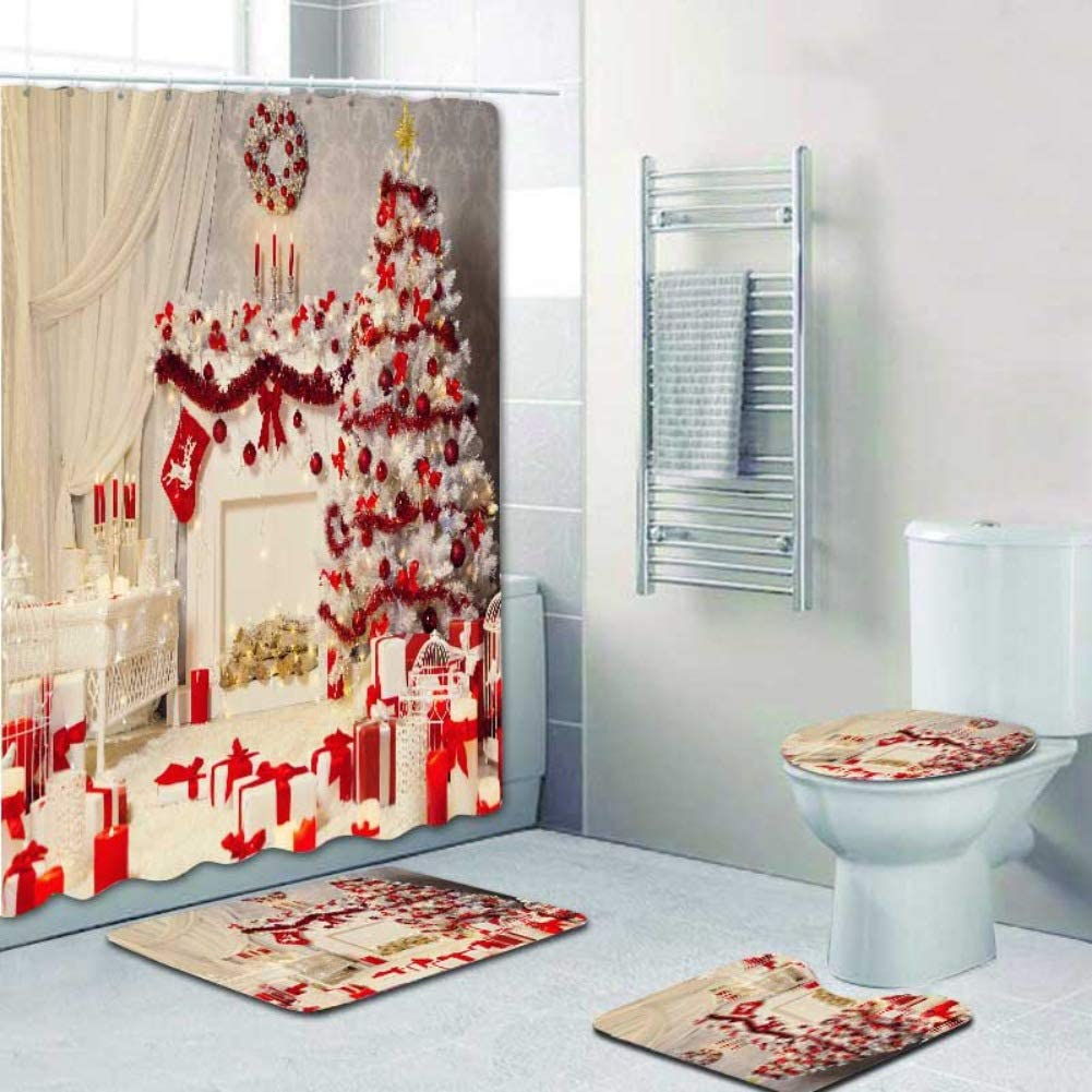 ARTIFUN 10 PCS Christmas Bathroom Decorations Set Toilet Seat Cover Rug  Shower Curtain Sets Xmas Santa Claus Elk Snowman Bathroom Decor (A10)