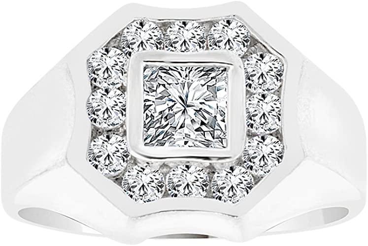 White Rhodium Plated Metal Fancy Band Ring Men Guy Gent Brilliant Created CZ Stones
