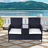 Outsunny Garden Rattan 2 Seater Companion Seat Wicker Love Seat Weave Partner Bench w/ Cushions Patio Outdoor Furniture (Black)