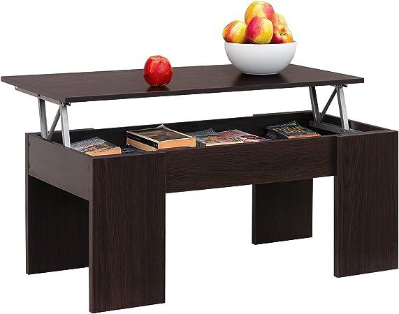 Comifort Table Basse Avec Plateau Relevable Table De Salon Fonctionelle Avec Rangement Moderne écologique Fabriquée En Europe Chêne Wengé
