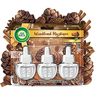 Air Wick Plug in Scented Oil 3 Refills, Woodland Mystique, Fall Scent, Fall Spray, (3x0.67oz), Essential Oils, Air Freshener, Packaging May Vary