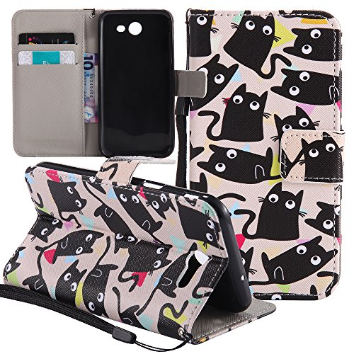 Samsung Galaxy J3 Emerge Case, Galaxy J3 Prime Case, Amp Prime 2 Case, Express Prime 2 Case, BestAlice Flip Painted PU Leather Fold Wallet Stand Pouch Magnetic Skin Cover With Strap ,Little Cats
