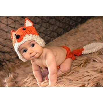 Amazon.com   Beanie Hat Outfit Photo Props Fox Design Newborn Baby Crochet  Clothes 2PCS 0-3M   Baby 855cdde974a8