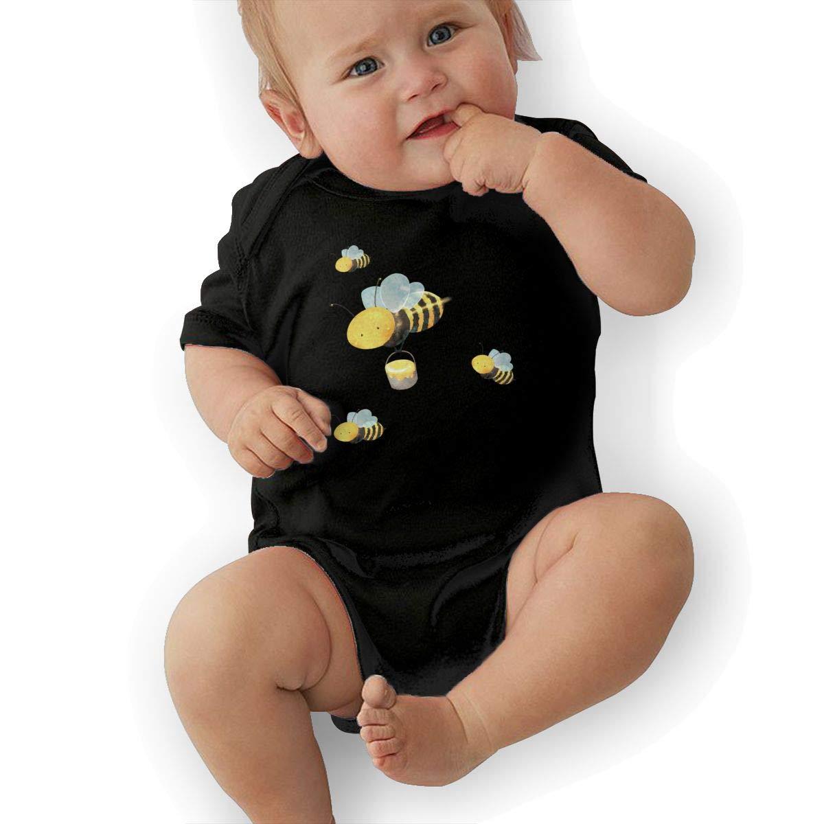 Dfenere Bees Fashion Newborn Baby Short Sleeve Bodysuit Romper Infant Summer Clothing