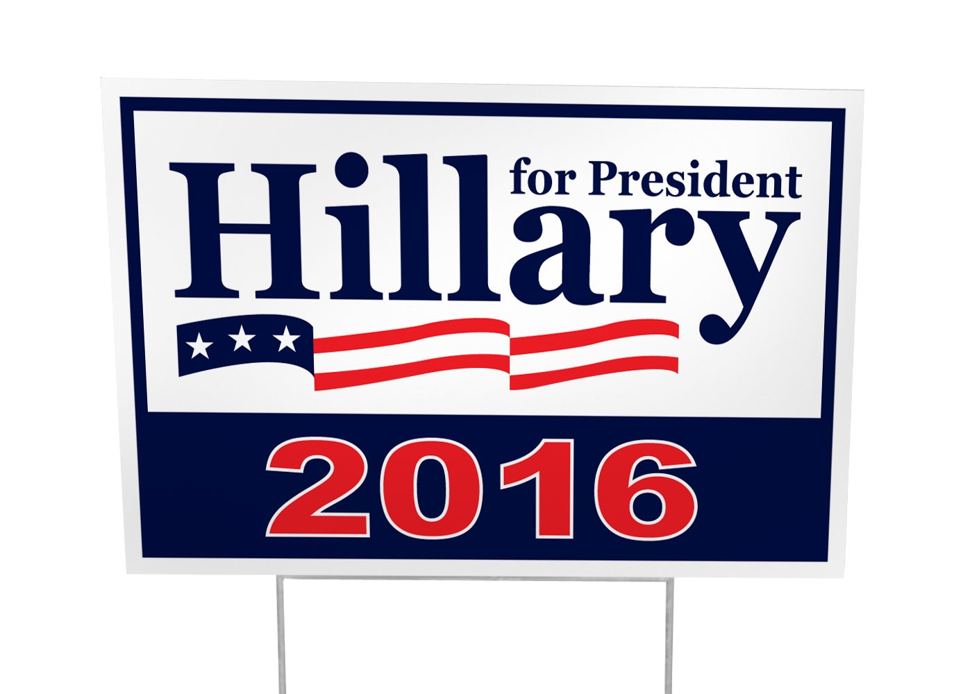 Hillary Clinton For President 2016 Outdoor Yard Sign 25 Pack - 12x18 - Imagine This Company