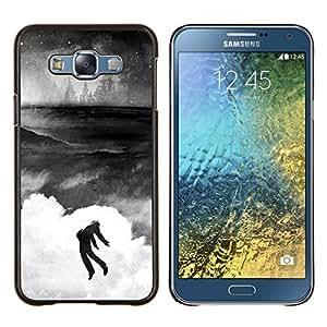 Qstar Arte & diseño plástico duro Fundas Cover Cubre Hard Case Cover para Samsung Galaxy E7 E700 (Banksy Graffity)