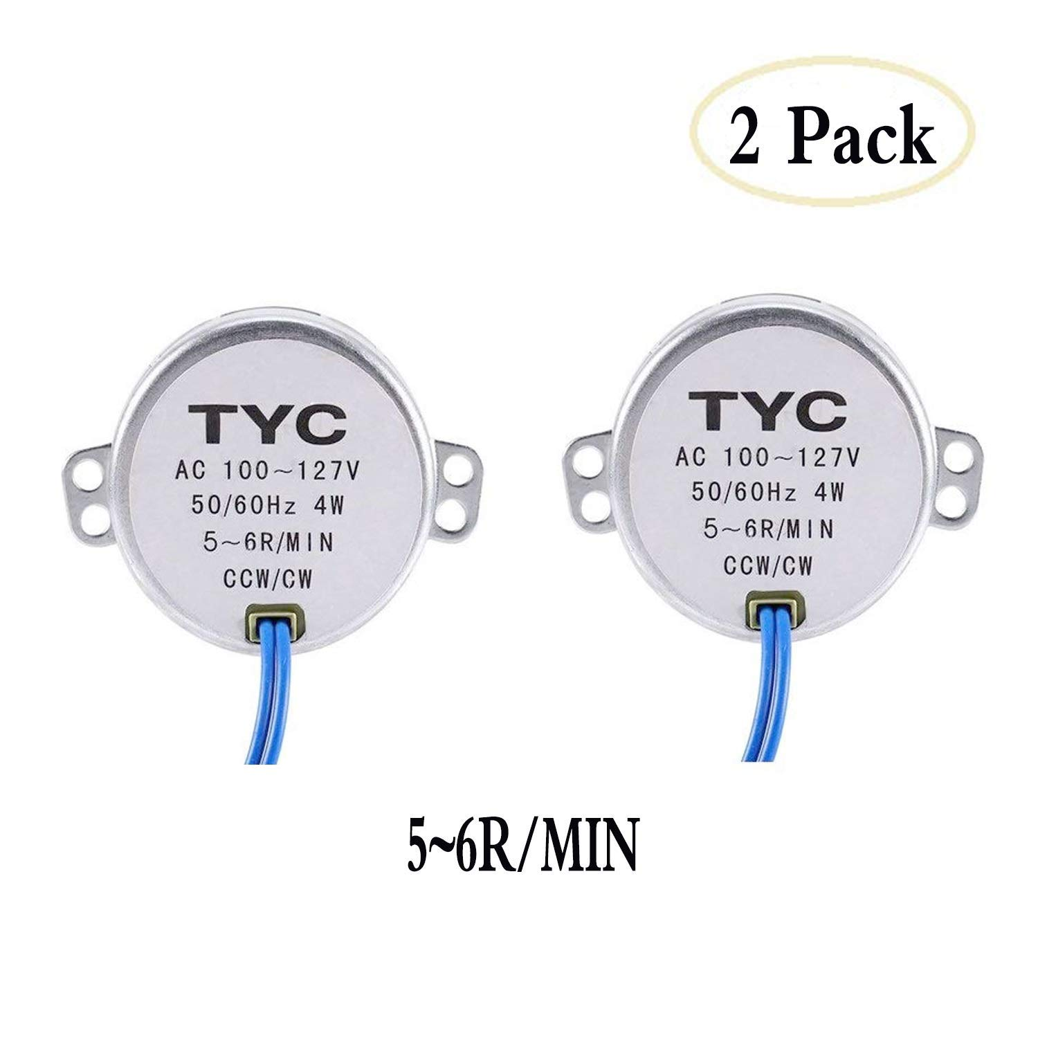 2Pack Synchronous Synchron MotorTurntable Motor Electric Motor for Cup Turner,Cuptisserie,Tumbler Cup Rotator with 7mm Flexible Coupling Connector,50//60Hz AC100~127V 4W CCW//CW 5-6RPM