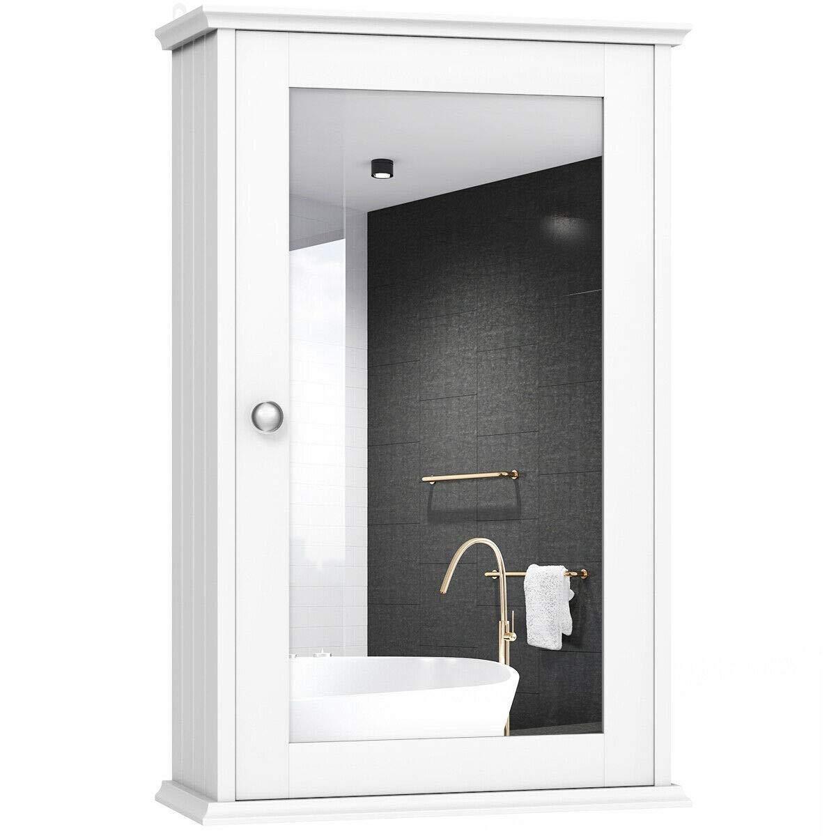 TANGKULA Mirrored Bathroom Cabinet Wall Mount Storage Cabinet Single Doors Medicine Cabinet White