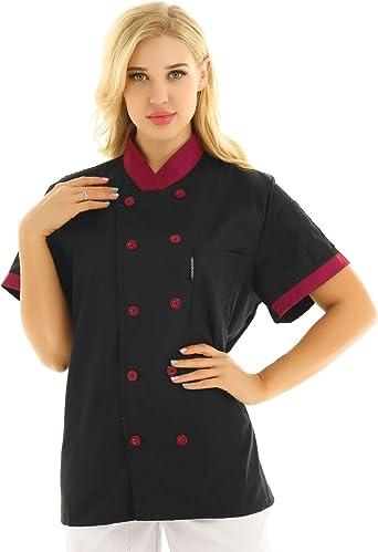 TiaoBug Unisexo Camisa de Cocineros Camareros Chef Uniforme Mandarin de Trabajo Chefs de Hotel Restaurante Chaqueta Llaboral Profesional Mangas Cortas Verano: Amazon.es: Ropa y accesorios