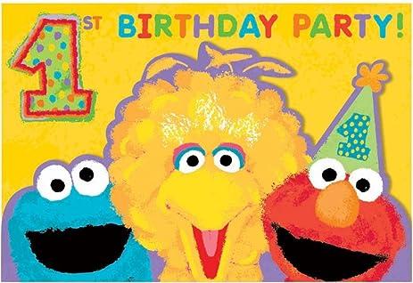 Amazoncom Sesame Street 1st Birthday Invitations w Envelopes