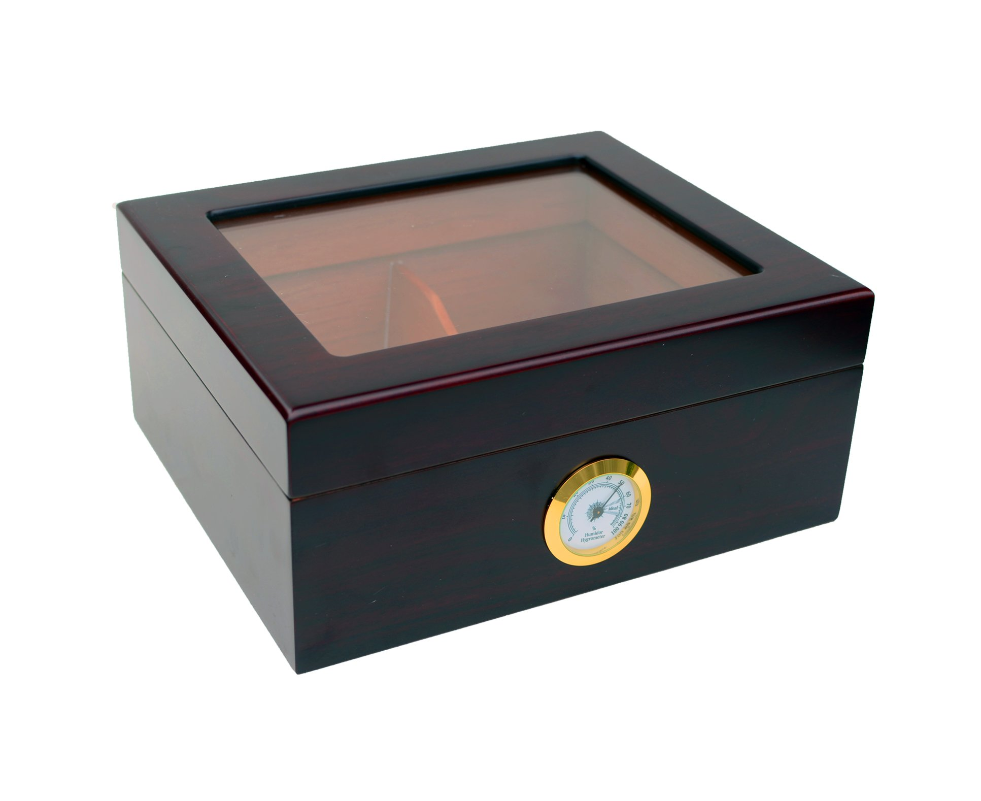 Maypes Desktop Humidor w/Hygrometer - Holds 25-50 Cigars - Cigar Aficionado Set Includes: Tempered Glass Top, Hygrometer, Dehumidifier, Divider - Interior: Spanish Cedar - Exterior: Mahogany Finish