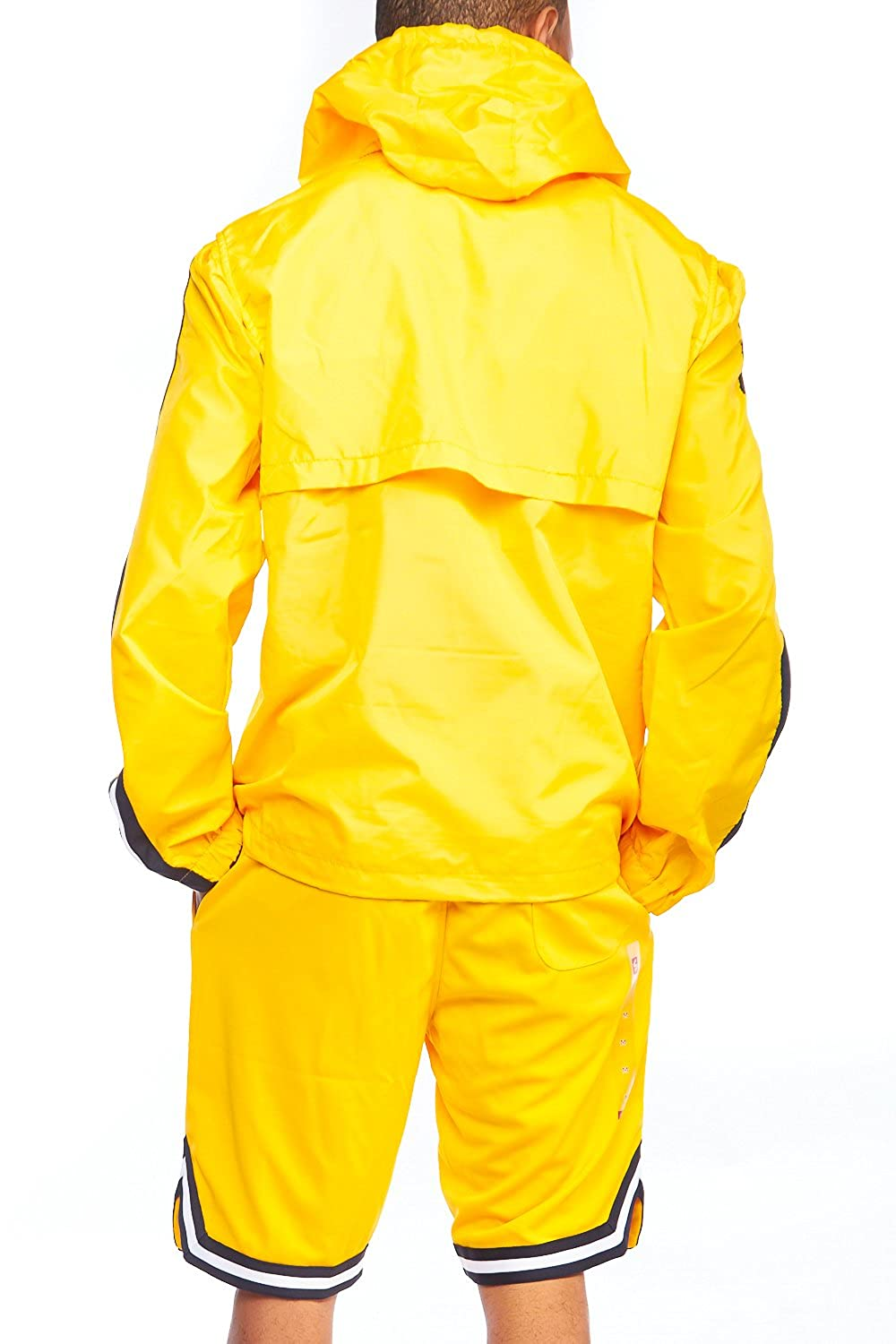 05f5829da Mens Dope Lightweight Windbreaker Colorblock Pullover Hoodie Jacket 18121-5142  (S, Yellow) at Amazon Men's Clothing store: