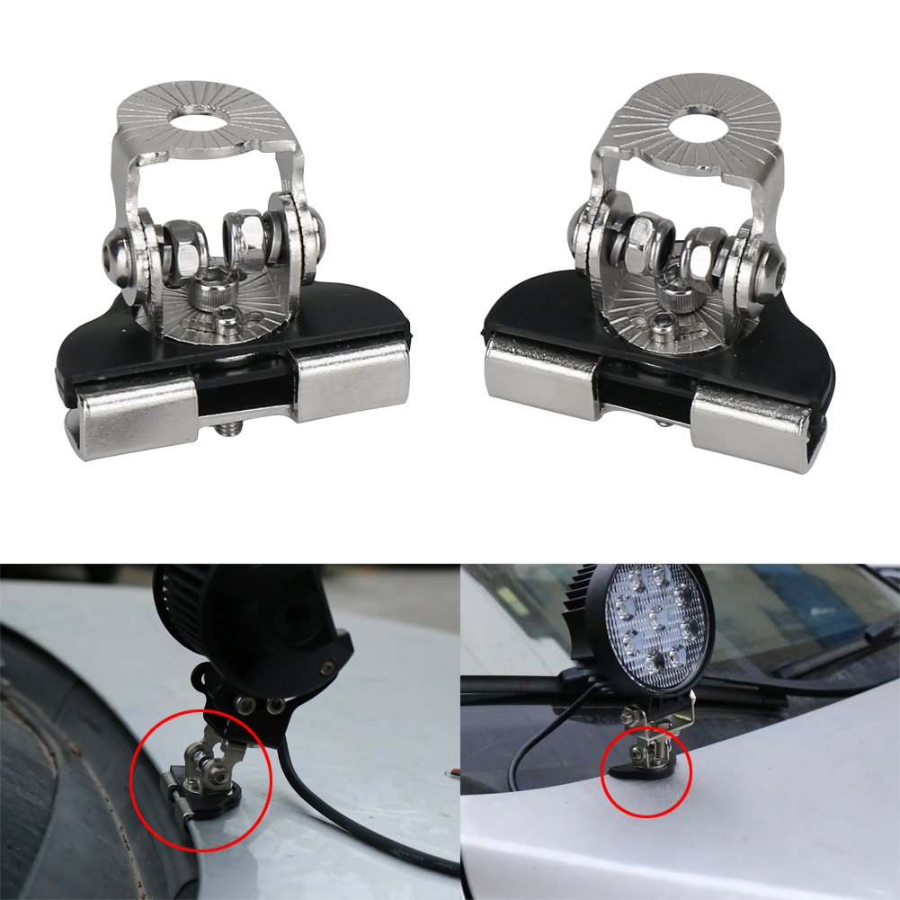 OVOTOR 2PCS Stainless Steel Mounts Clamp Holder Universal LED Work Light Bar A Pillar Hood Mounting Bracket Clamp Holder for Off Road Installed without Drilling
