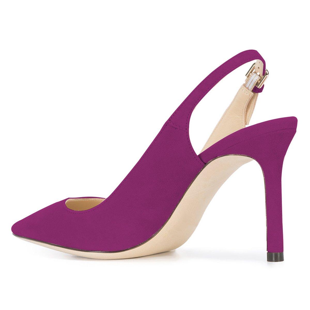 ac82c313ef4 ... NJPU Women Pointed Toe Slingback Pumps Stiletto High High High Heels  Office Shoes with Buckle B07C2MJPZJ ...