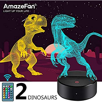 Dinosaur Night Light for Kids - 3D Dinosaur Lamp 16 Colors Optical Illusion Touch & Remote Control with 2 Acrylic Flats Best Christmas Birthday New Year Gifts for Boys Girls Kids Baby (2 Dinosaurs)