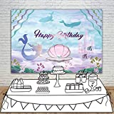 Allenjoy 7x5ft Polyester Little Mermaid Theme Under The Sea Photo Backdrop Girls Birthday Party Decorations Cake Table Banner Kids Photography Background Studio Booth Props