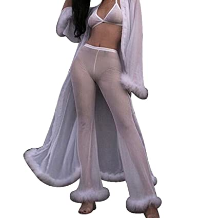 6e94d2cfe6d1 Dreamyth Ladies Sexy Perspective High Waist Trousers, Womens Beach Mesh  Sheer Bikini Cover Up Swimwear