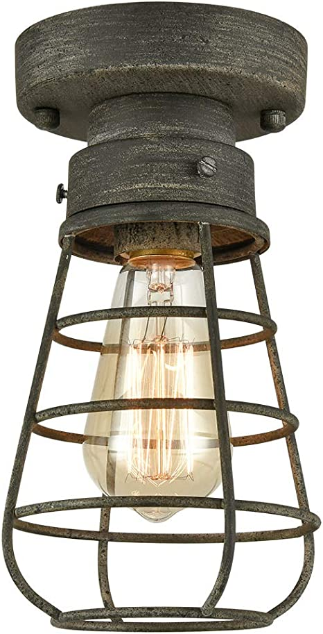 Rustic Ceiling Lights Metal Caged Mini Close To Ceiling Lamp With Unique Rust Finish Amazon Com