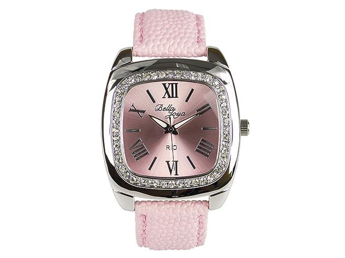 Bella joya Mujer Reloj Rio, correa de piel auténtica Color Rosa: Amazon.es: Relojes
