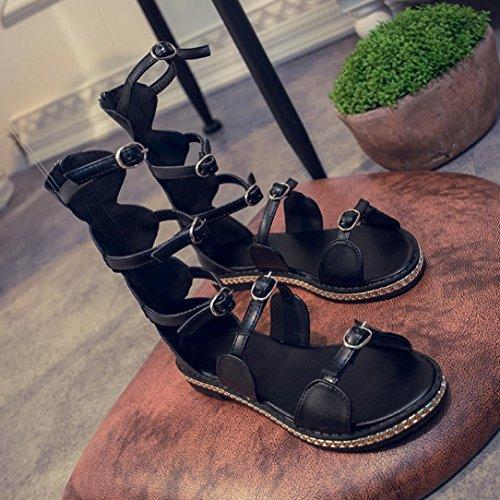 Saingace Frauen Sommer Open Toe Flat Hollow Bandage Sandalen Beach Gladiator Fashion Schuhe Schwarz