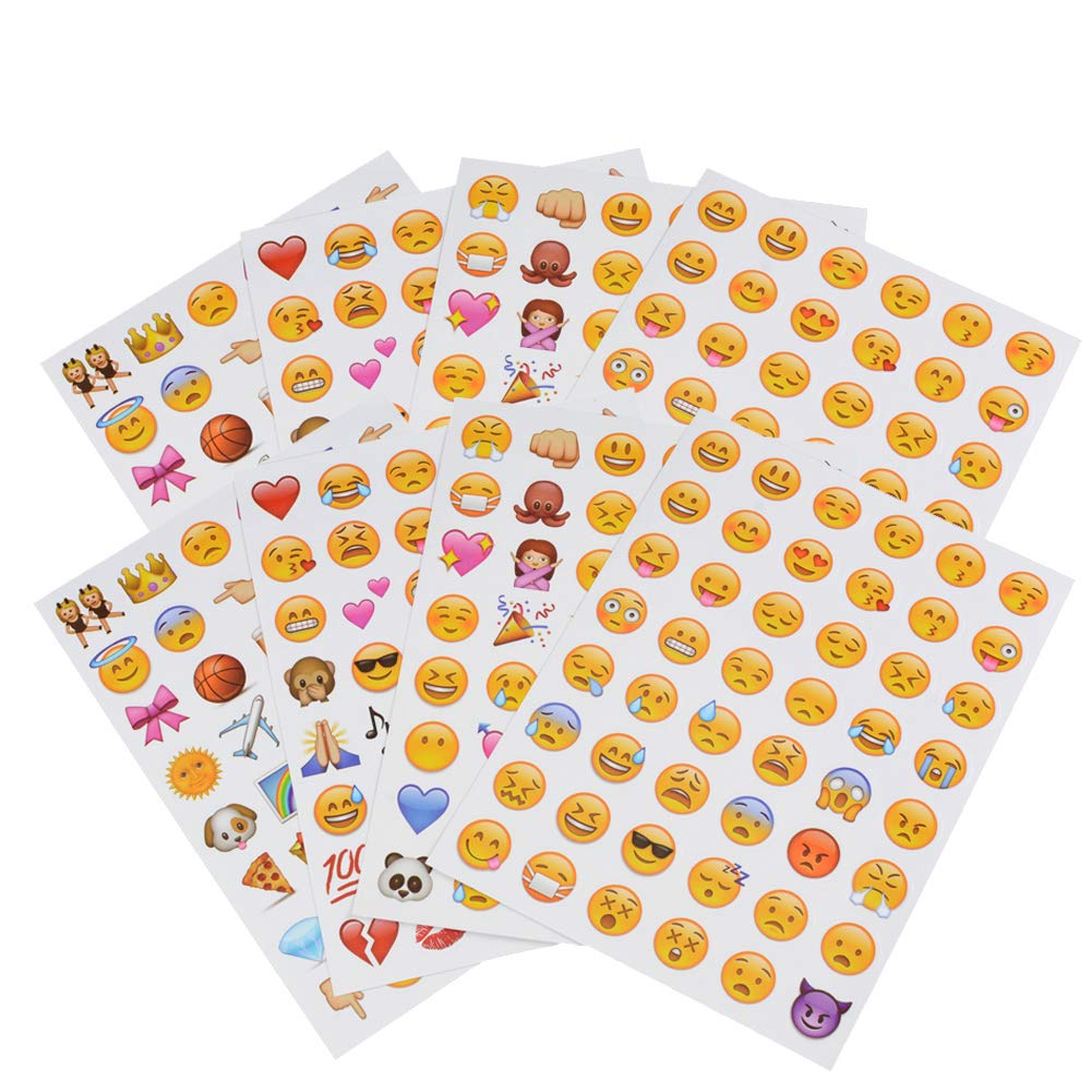 COOLAKE Emoji Face Stickers 8 Sheet Lovely Funny Vinyl Emoticon Kids Sticker Decoration Party Supplies Favors for Pictures Scrapbook Paper from Facebook iPhone