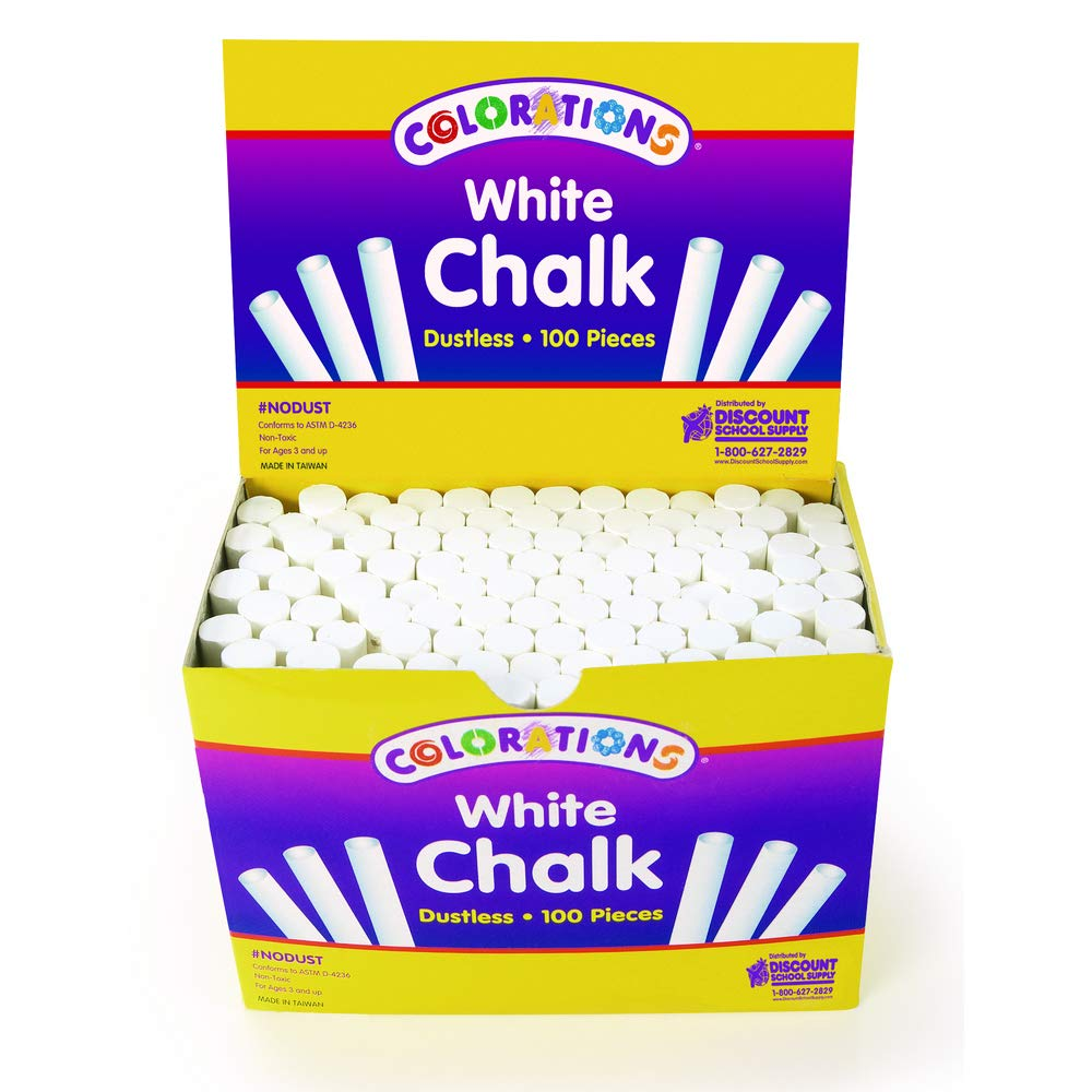 Colorations NODUST White Dustless Chalk (Pack of 100) Discount School Supply