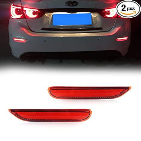 GTINTHEBOX (2) 3D Optic Red LED Rear Bumper Reflector Brake Tail Lights  w/Sequential Turn Signal Lamps, Strobe Brake Lighting Kit For Infiniti Q50