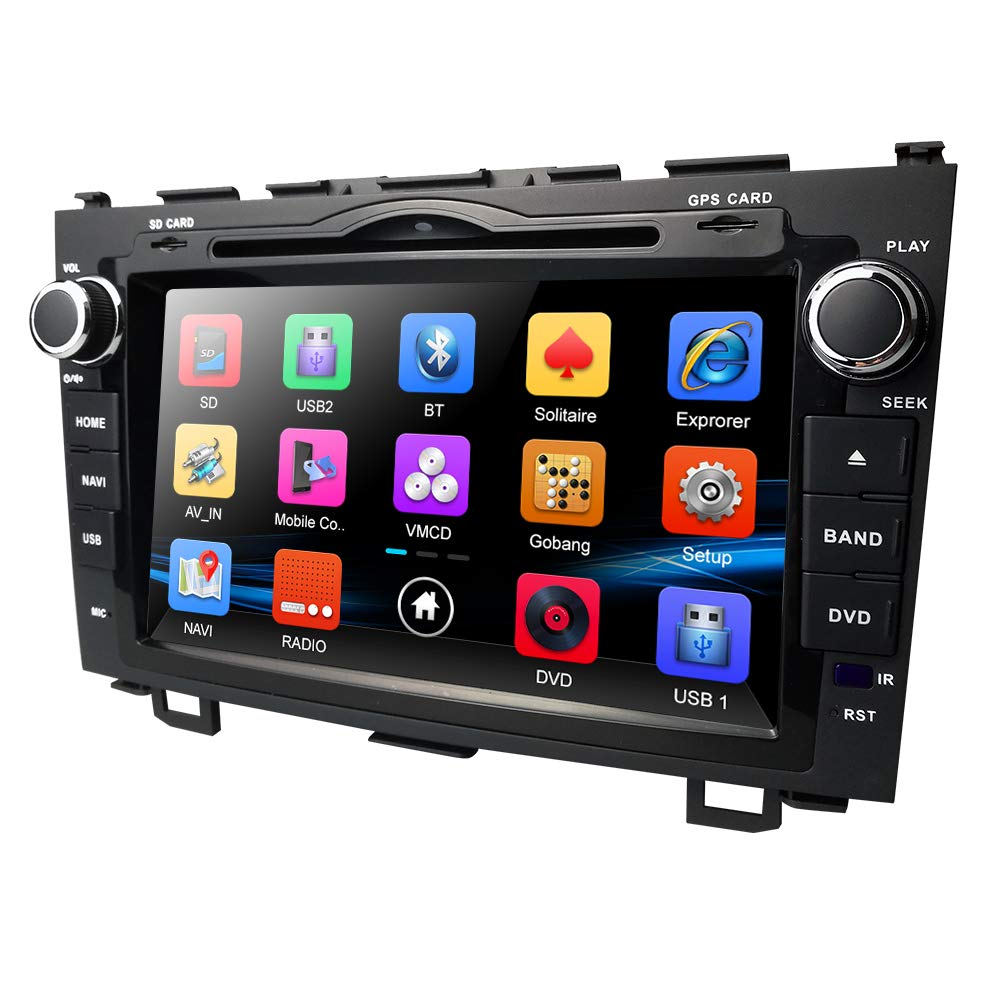 hizpo 8 Inch for Honda CRV CR-V 2007 2008 2009 2010 2011 in Dash HD Touch Screen Car DVD Player GPS Navigation Stereo Bluetooth/SD/USB/Mirrorlink/FM/AM Radio/3G/AV-IN/1080P North America Map