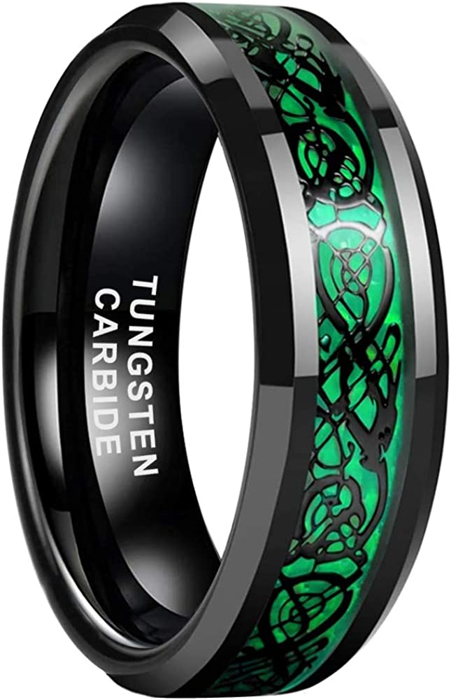 iTungsten 6mm 8mm Black Tungsten Carbide Rings for Men Women Wedding Bands Celtic Dragon Purple/Green/Red Carbon Fiber Inlay Beveled Edges Polished Comfort Fit