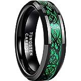 iTungsten 6mm 8mm Black Tungsten Carbide Rings for Men Women Wedding Bands Celtic Dragon Purple/Green/Red Carbon Fiber Inlay