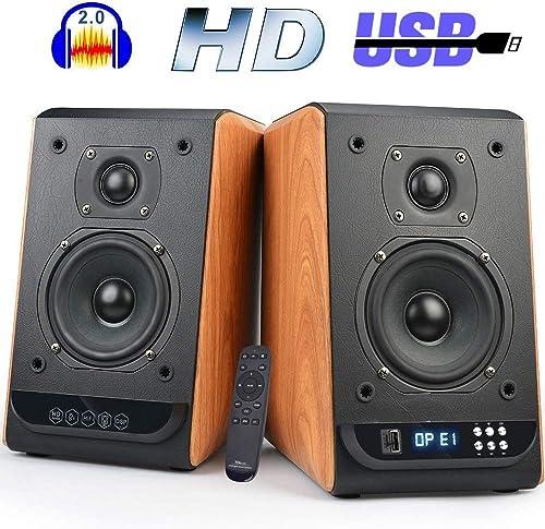 Bookshelf Speakers Bluetooth Studio Speakers HiFi 2.0 Surround Sound Classic Wireless Speaker for Home Theater Optical Input 80Watts 4 Inch Near Field Speaker Wooden Style Pair
