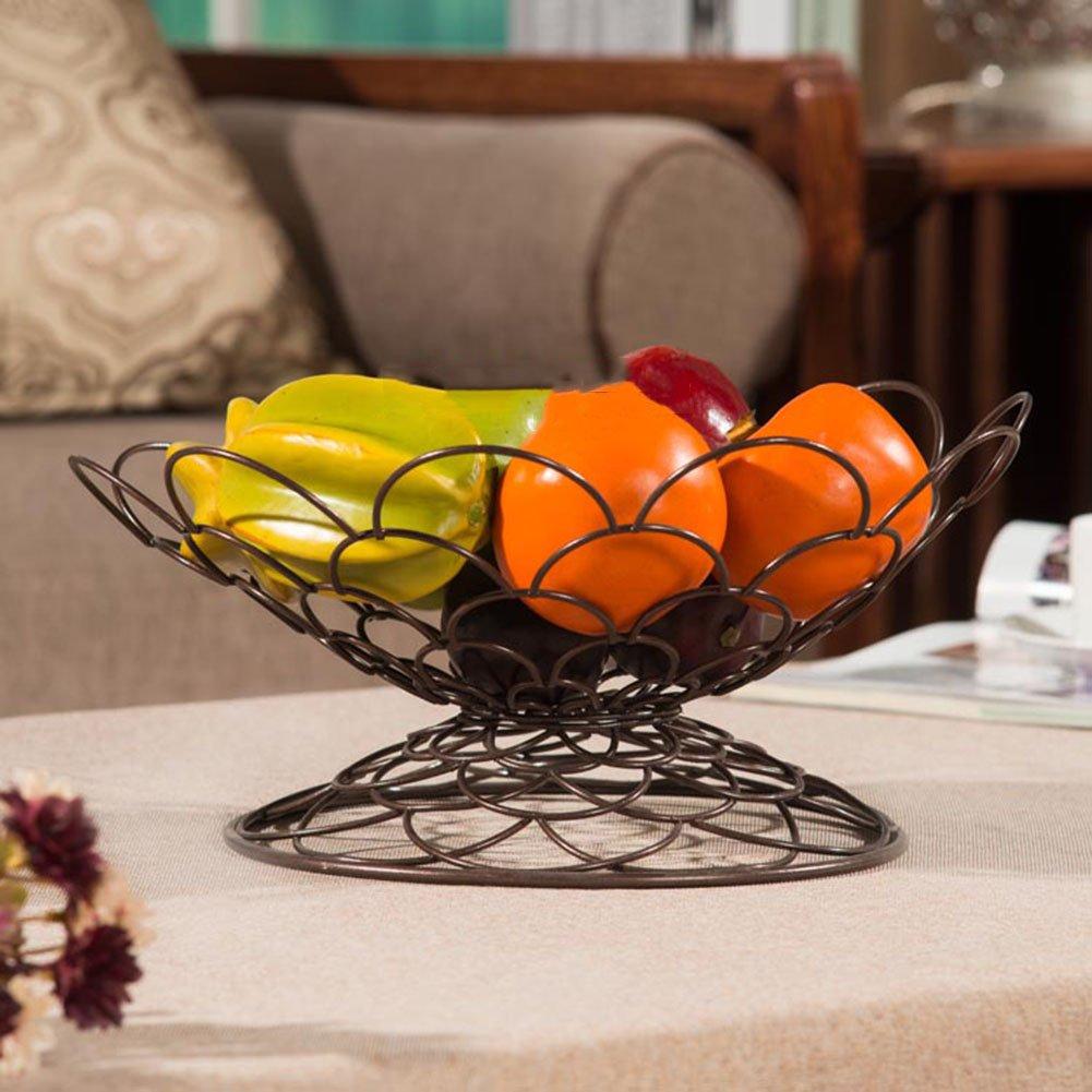 WENZHE Fruit Basket Stand Fruit Plate Rack Dish Bowl Dried Fruit Blue Phosphonium Form Iron, 3 Colors, 32 * 16cm (Color : Brown) Wen Wen Dian Pu
