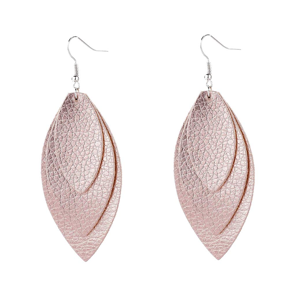 Bohemian Leaf Feather Faux Leather Sequins Triple Layered Dangle Hook Earrings - Apricot