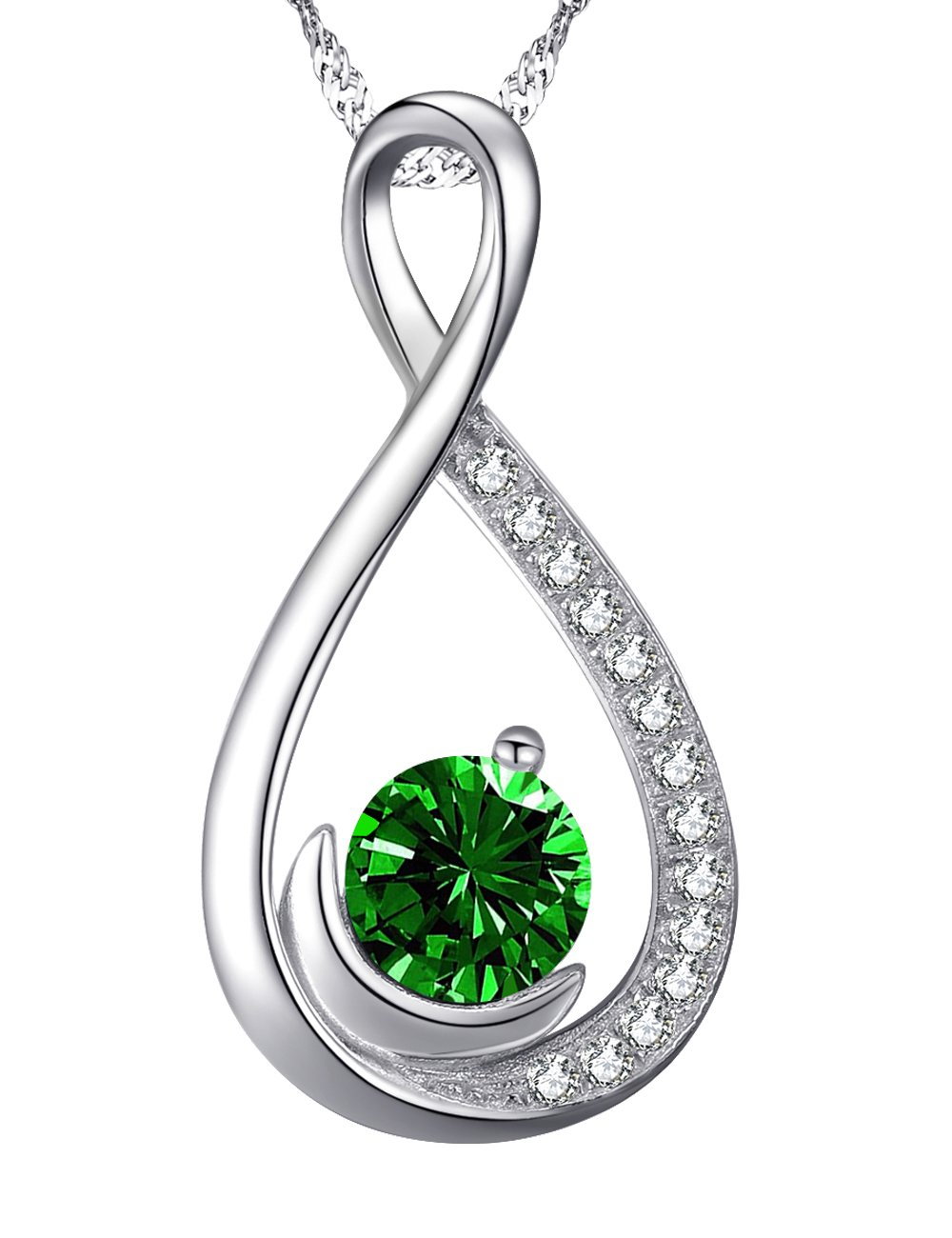 Love Infinity Half Moon Jewelry Gifts for Women Green Emerald Necklace Birthday Anniversary Gifts for Wife for Lady for Her Daughter Grandma Sterling Silver Swarovski, 18''+2'' Chain